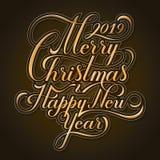 Buon Natale e buon anno testo Modello calligrafico della carta di progettazione di iscrizione Tipografia creativa per la festa immagini stock libere da diritti