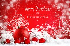 Buon Natale e buon anno Un fondo con le decorazioni del nuovo anno, fondo del ` s del nuovo anno con lo spazio della copia immagini stock