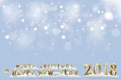 Buon Natale e buon anno un modello da 2018 feste Vector il testo del buon anno e di Natale 2018 sulla nevicata Immagine Stock
