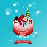 Buon Natale e buon anno, vettore isometrico dei contenitori di regalo dell'uomo della neve fotografia stock libera da diritti