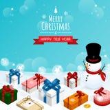 Buon Natale e buon anno, vettore isometrico dei contenitori di regalo dell'uomo della neve fotografia stock