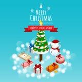 Buon Natale e buon anno, vettore isometrico dei contenitori di regalo dell'uomo della neve fotografie stock