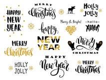Buon Natale e buon anno Calligrafia dell'iscrizione di vettore Fotografia Stock