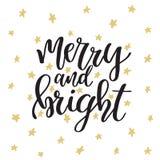Buon Natale e buon anno Cartolina d'auguri di Natale con la calligrafia Iscrizione moderna scritta a mano della spazzola Mano illustrazione di stock