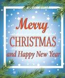 Buon Natale e buon anno! Cartolina d'auguri manifesto Fotografia Stock Libera da Diritti