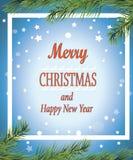 Buon Natale e buon anno! Cartolina d'auguri manifesto Immagini Stock Libere da Diritti