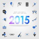 Buon Natale e buon anno 2015 con l'icona del partito illustrazione di stock