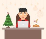 Buon Natale e buon anno decorati dell'ufficio del posto di lavoro Uomini svegli del carattere, albero di festa Vettore piano di c Fotografia Stock Libera da Diritti
