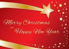 Buon Natale e buon anno della cartolina d'auguri Fotografia Stock