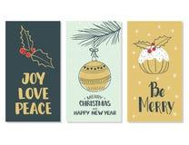 Buon Natale e buon anno Insieme delle cartoline di Natale Fotografia Stock Libera da Diritti