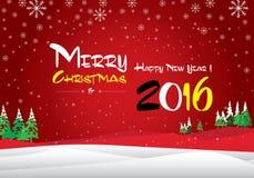 Buon Natale e buon anno 2016 La neve bianca e l'albero di Natale verde su fondo blu Fotografia Stock