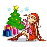 Buon Natale e buon anno Santa Girl Immagine Stock Libera da Diritti