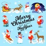 Buon Natale e carta del buon anno, chiesa ed albero verde sotto neve, Cristianità e la città cattolica di inverno illustrazione vettoriale