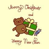 Buon Natale e cartolina d'auguri del buon anno con il fondo disegnato a mano dell'iscrizione di Teddy Bear And Present Box Immagini Stock