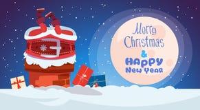 Buon Natale e cartolina d'auguri del buon anno con Santa Claus Fotografia Stock Libera da Diritti