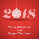 Buon Natale e cartolina d'auguri del buon anno, modello creativo di progettazione - 2018 Fotografie Stock