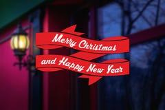 Buon Natale e cartolina d'auguri dell'nuovo anno Fotografie Stock Libere da Diritti