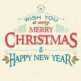 Buon Natale e cartolina d'auguri dell'nuovo anno illustrazione vettoriale