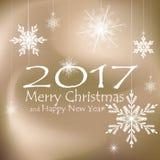 Buon Natale e decorazioni della carta del buon anno Ambiti di provenienza beige Immagini Stock