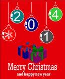Buon Natale e 2014 felice Illustrazione di Stock