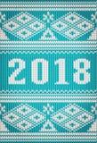 Buon Natale e nuovo 2018 anni felice, insegna tricottata Fotografia Stock
