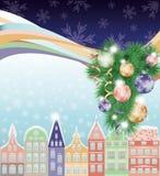 Buon Natale e nuovo anno felici, città di inverno Immagini Stock