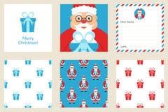 Buon Natale e nuovo anno Metta la cartolina d'auguri Comprende i modelli senza cuciture di festa Santa sveglia con il regalo Prog Fotografia Stock