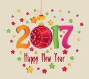 Buon Natale e palla 2017 del buon anno e variopinto Illustrazione Vettoriale
