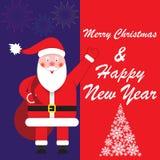 Buon Natale e saluti del nuovo anno, modello, cartolina, insegna illustrazione vettoriale