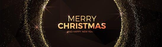 Buon Natale e stile basso del triangolo dell'oro del buon anno della palla operata di natale poli illustrazione vettoriale