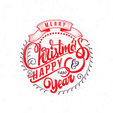 Buon Natale e testo 2017 dell'a mano iscrizione del buon anno Calligrafia fatta a mano di vettore per la vostra progettazione Immagini Stock Libere da Diritti