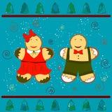 Buon Natale ed anno felice con l'uomo e la donna di pan di zenzero royalty illustrazione gratis