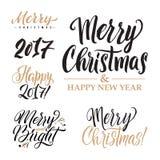 Buon Natale ED insieme di calligrafia del buon anno Progettazione della cartolina d'auguri fissata su fondo bianco Fotografia Stock Libera da Diritti