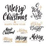 Buon Natale ED insieme di calligrafia del buon anno Progettazione della cartolina d'auguri fissata su fondo bianco illustrazione vettoriale