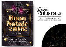 Buon Natale 2018 Felizes Natais no italiano Fotos de Stock Royalty Free