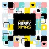 Buon Natale, fondo astratto geometrico, manifesto, modello di tema Fotografia Stock Libera da Diritti