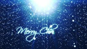 Buon Natale, fondo di festa con i fiocchi di neve contro il blu illustrazione di stock