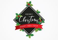 Buon Natale fondo o modello del manifesto di saluto con le foglie Fotografia Stock Libera da Diritti