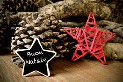 Buon natale, glad jul i italienare Royaltyfri Foto
