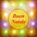 Buon Natale greeting card. New year template. Brightly Colorful Fireworks. Gold illustration of Fireworks. Holiday. Buon Natale greeting card. Brightly Colorful Stock Photos