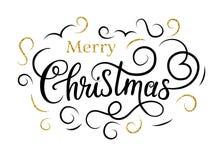 Buon Natale Handlettering con i flourishes dell'oro Immagine Stock