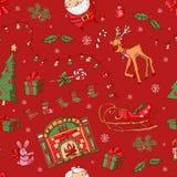 Buon Natale Icone di Natale su un fondo rosso Fotografie Stock Libere da Diritti