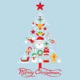 Buon Natale, icone nella forma dell'albero di Natale Fotografie Stock Libere da Diritti