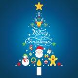 Buon Natale, icone nella forma dell'albero di Natale Fotografie Stock