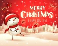 Buon Natale! Il pupazzo di neve allegro accoglie nel paesaggio dell'inverno di scena della neve di Natale illustrazione di stock