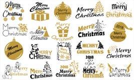 Buon Natale Insieme di tipografia Logo di vettore, emblemi, progettazione del testo Fotografia Stock