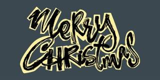 Buon Natale Iscrizione disegnata a mano di festa di Natale illustrazione vettoriale