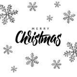 Buon Natale! Iscrizione scritta mano e natale disegnato a mano Immagine Stock Libera da Diritti