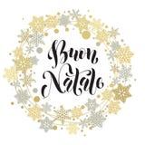 Buon Natale, Italiaanse Vrolijke Kerstmistekst, groetkaart Royalty-vrije Stock Fotografie