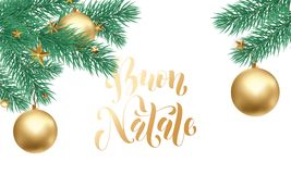 Buon Natale Italian Merry Christmas holiday golden hand drawn calligraphy text for greeting card of Christmas star ornament decora. Tion. Vector golden font text Stock Images